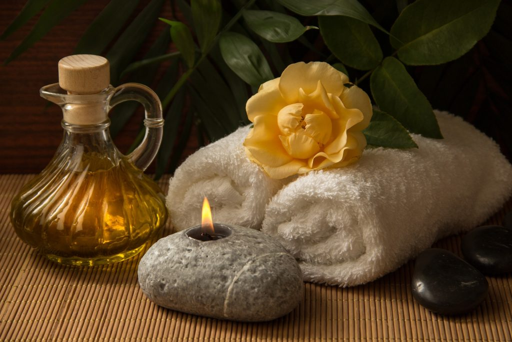 oil and towel for erotic massage