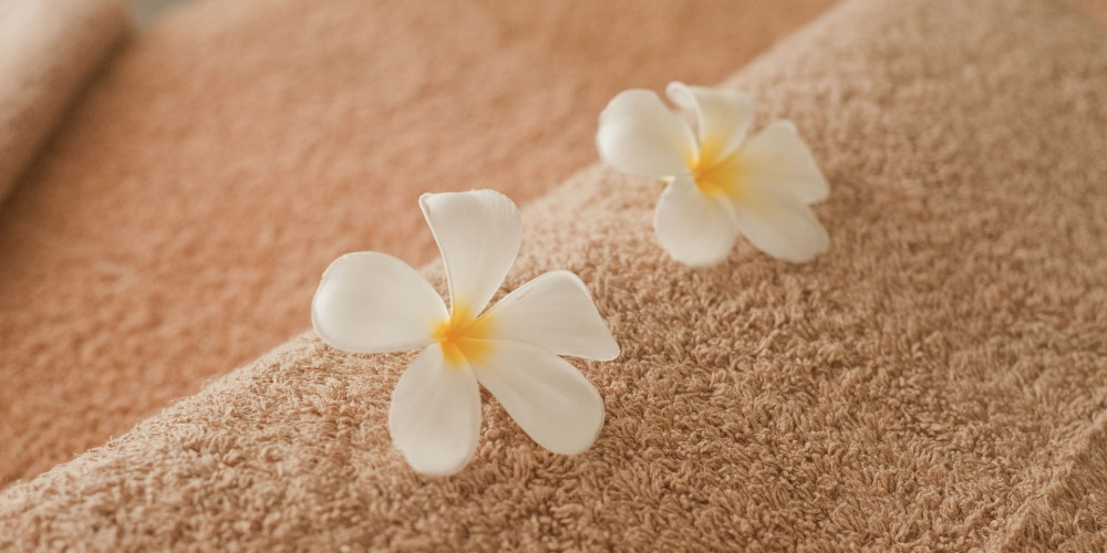 flower and towels using by an escort girl of Mia Massage Agency in Vienna